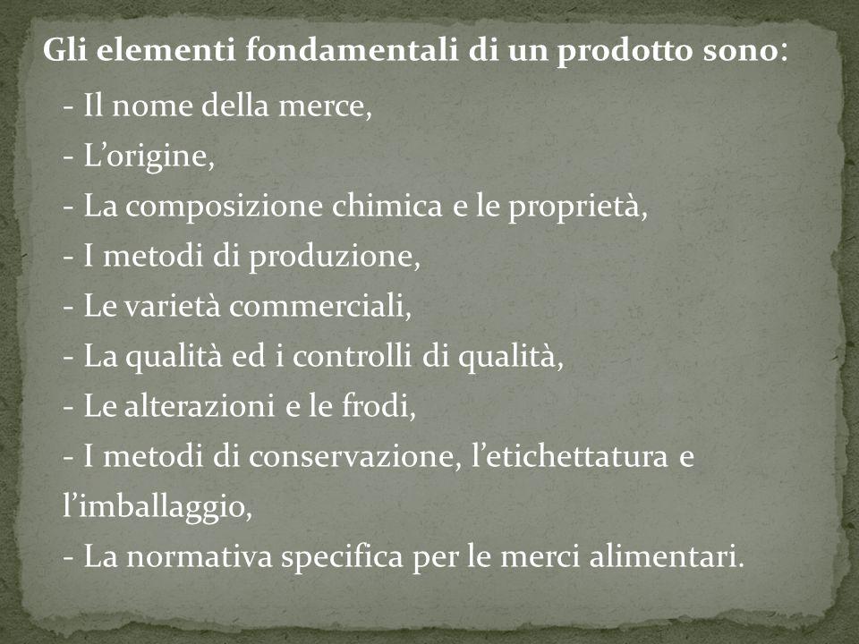 Gli elementi fondamentali di un prodotto sono : - Il nome della merce, - L'origine, - La composizione chimica e le proprietà, - I metodi di produzione