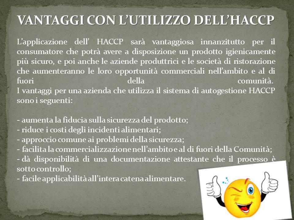 VANTAGGI CON L'UTILIZZO DELL'HACCP L'applicazione dell' HACCP sarà vantaggiosa innanzitutto per il consumatore che potrà avere a disposizione un prodo