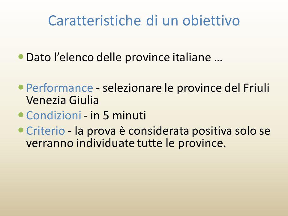 Caratteristiche di un obiettivo Dato l'elenco delle province italiane … Performance - selezionare le province del Friuli Venezia Giulia Condizioni - in 5 minuti Criterio - la prova è considerata positiva solo se verranno individuate tutte le province.