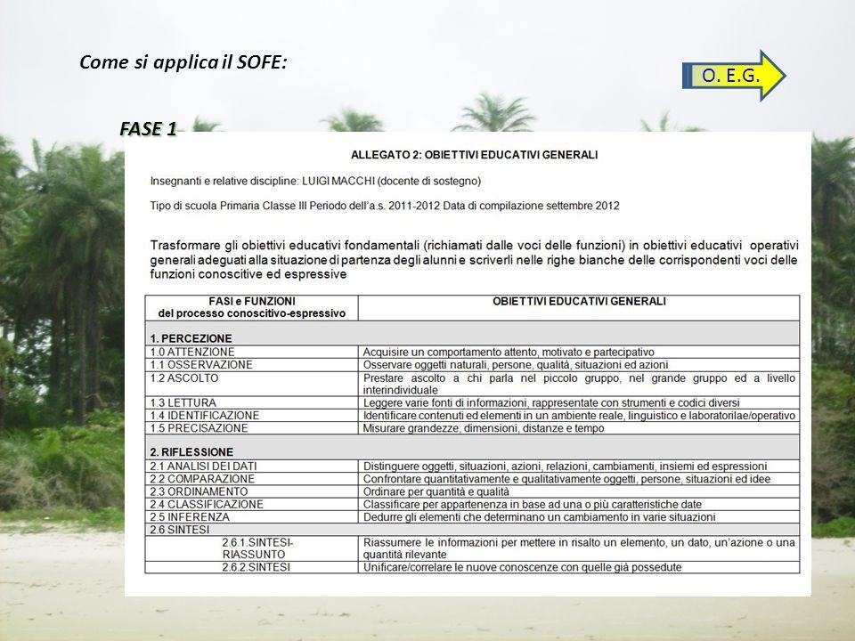 O. E.G. Come si applica il SOFE: FASE 1