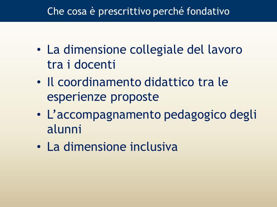 Che cosa è prescrittivo perché fondativo La dimensione collegiale del lavoro tra i docenti Il coordinamento didattico tra le esperienze proposte L'accompagnamento pedagogico degli alunni La dimensione inclusiva