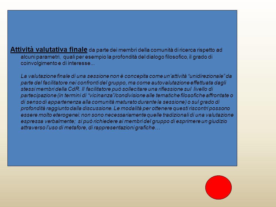 Attività valutativa finale da parte dei membri della comunità di ricerca rispetto ad alcuni parametri, quali per esempio la profondità del dialogo filosofico, il grado di coinvolgimento e di interesse...