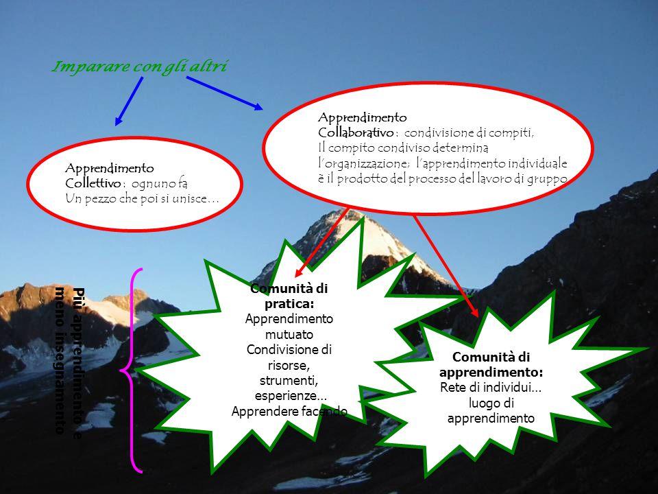Imparare con gli altri Apprendimento Collettivo : ognuno fa Un pezzo che poi si unisce… Apprendimento Collaborativo : condivisione di compiti, Il compito condiviso determina l'organizzazione; l'apprendimento individuale è il prodotto del processo del lavoro di gruppo Comunità di pratica: Apprendimento mutuato Condivisione di risorse, strumenti, esperienze… Apprendere facendo Comunità di apprendimento: Rete di individui… luogo di apprendimento Più apprendimento e meno insegnamento