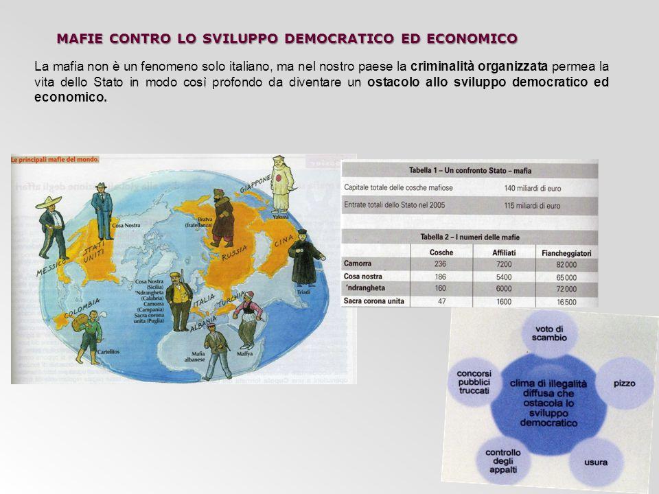 MAFIE CONTRO LO SVILUPPO DEMOCRATICO ED ECONOMICO La mafia non è un fenomeno solo italiano, ma nel nostro paese la criminalità organizzata permea la v