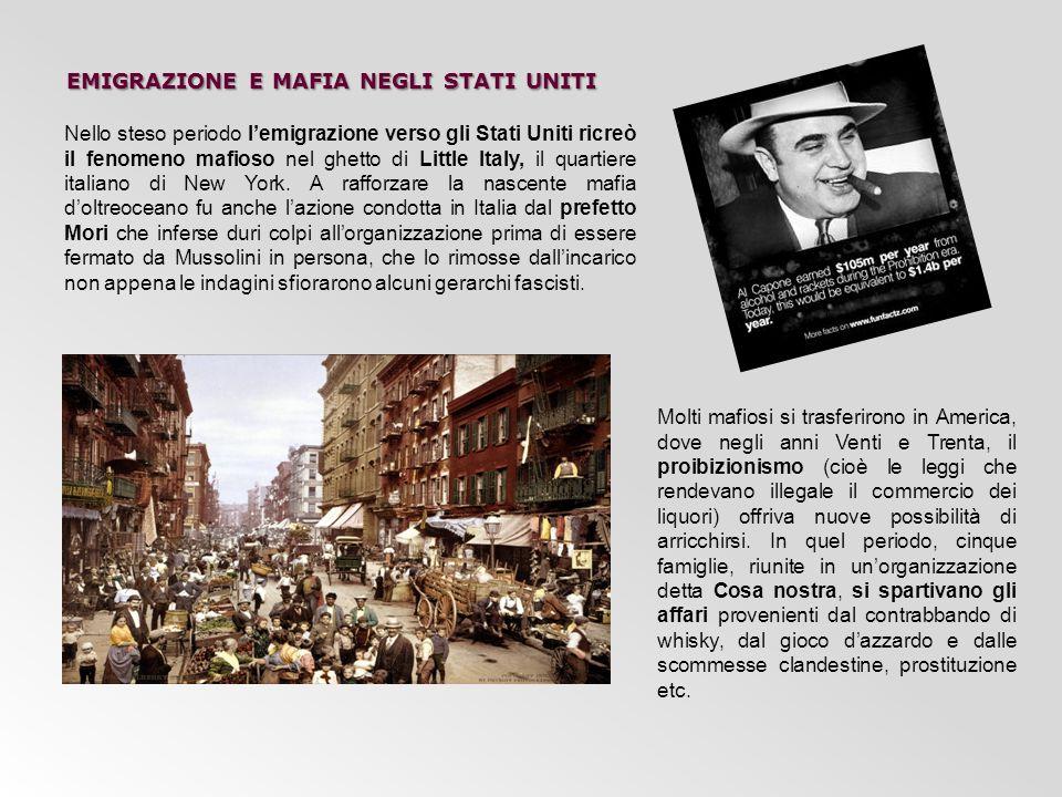 EMIGRAZIONE E MAFIA NEGLI STATI UNITI Nello steso periodo l'emigrazione verso gli Stati Uniti ricreò il fenomeno mafioso nel ghetto di Little Italy, i