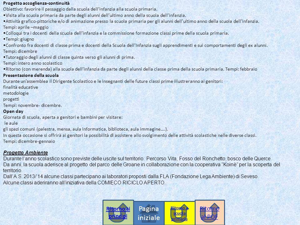Pagina iniziale Progetto accoglienza-continuità Obiettivo: favorire il passaggio dalla scuola dell'infanzia alla scuola primaria.
