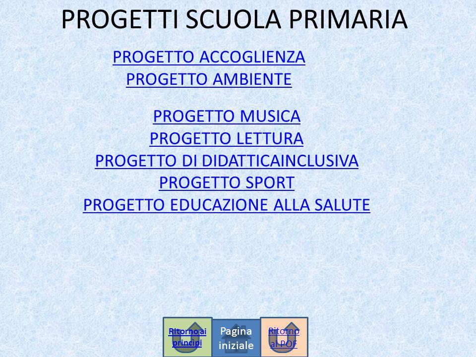 PROGETTI SCUOLA PRIMARIA PROGETTO ACCOGLIENZA PROGETTO AMBIENTE PROGETTO MUSICA PROGETTO LETTURA PROGETTO DI DIDATTICAINCLUSIVA PROGETTO SPORT PROGETTO EDUCAZIONE ALLA SALUTE Pagina iniziale Ritorno al POF Ritorno ai princìpi