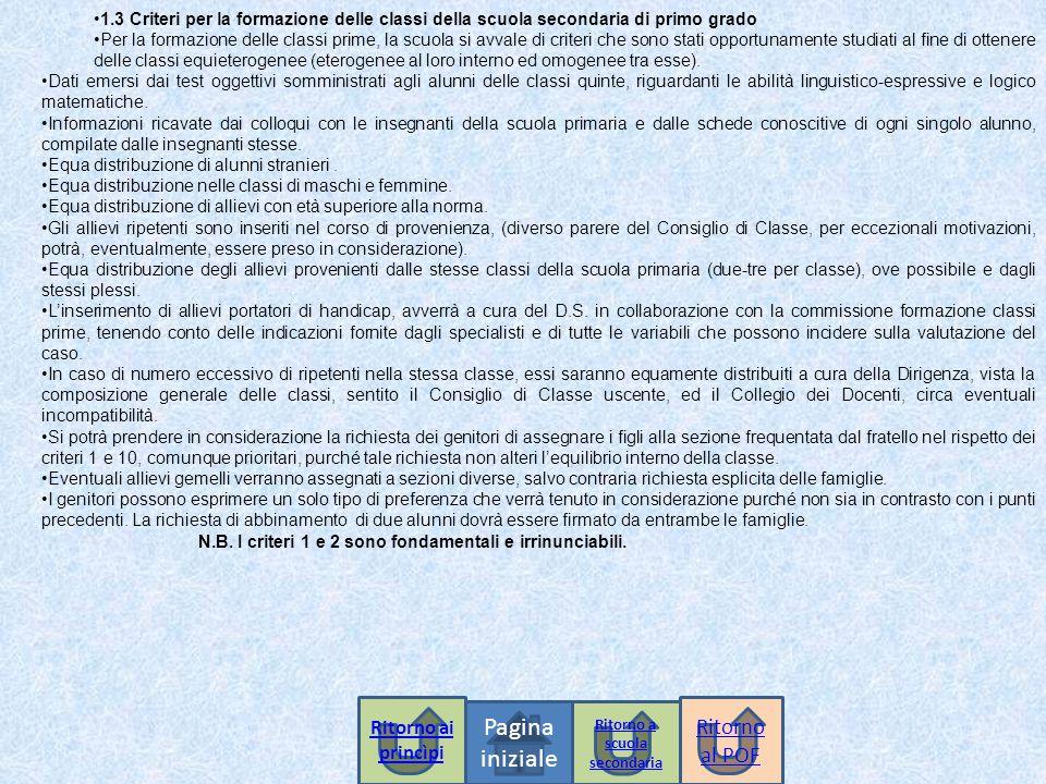 1.3 Criteri per la formazione delle classi della scuola secondaria di primo grado Per la formazione delle classi prime, la scuola si avvale di criteri