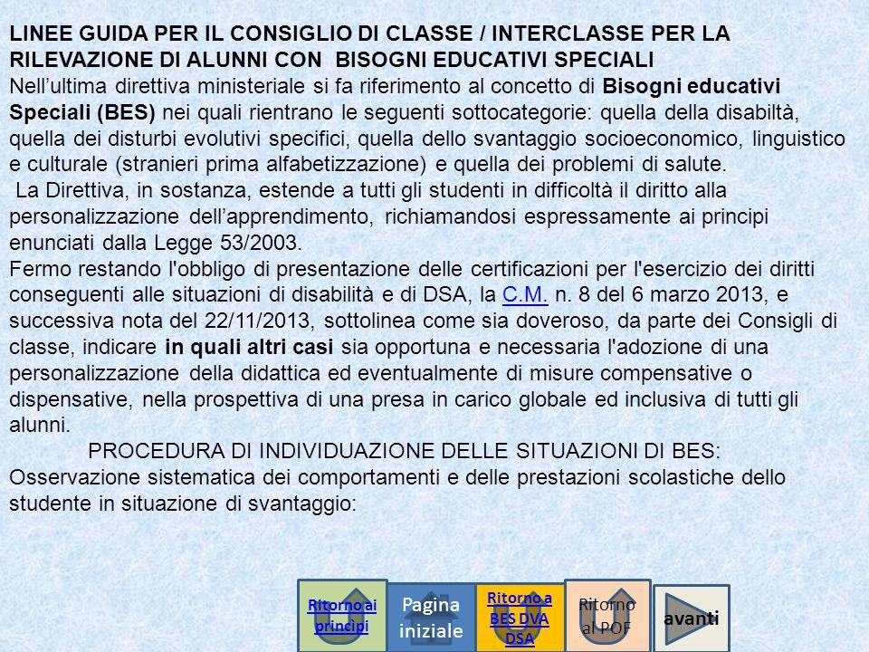 Pagina iniziale Ritorno a BES DVA DSA LINEE GUIDA PER IL CONSIGLIO DI CLASSE / INTERCLASSE PER LA RILEVAZIONE DI ALUNNI CON BISOGNI EDUCATIVI SPECIALI