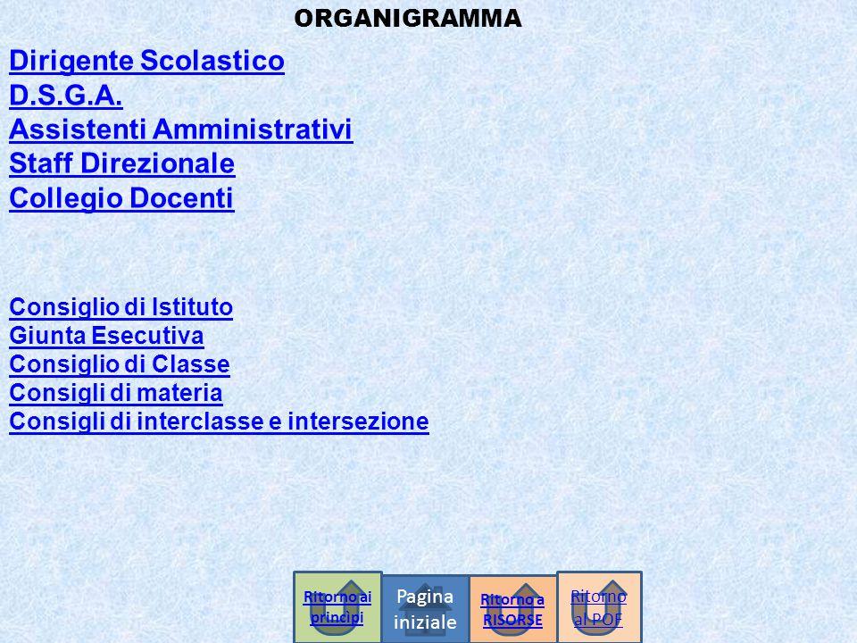 ORGANIGRAMMA Dirigente Scolastico D.S.G.A. Assistenti Amministrativi Staff Direzionale Collegio Docenti Consiglio di Istituto Giunta Esecutiva Consigl