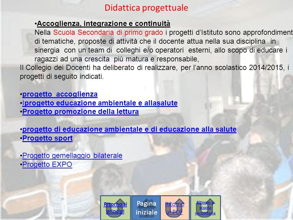 Pagina iniziale Didattica progettuale Accoglienza, integrazione e continuità Nella Scuola Secondaria di primo grado i progetti d'Istituto sono approfo