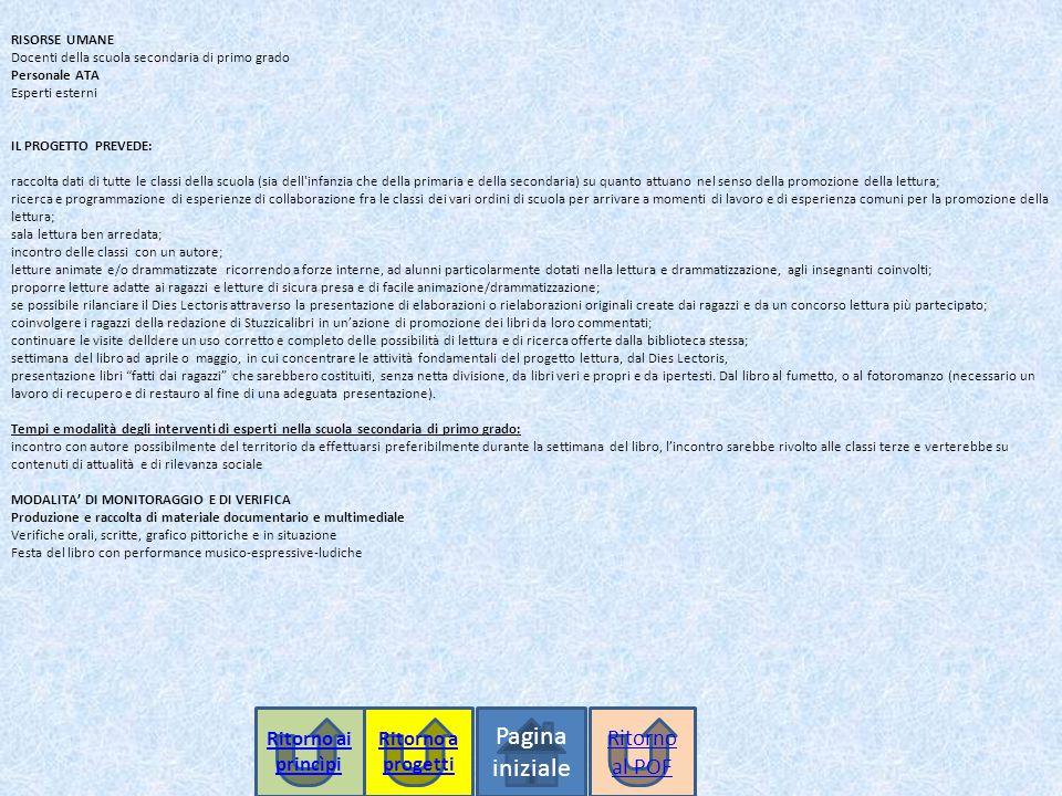 RISORSE UMANE Docenti della scuola secondaria di primo grado Personale ATA Esperti esterni IL PROGETTO PREVEDE: raccolta dati di tutte le classi della