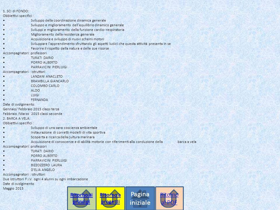 1. SCI di FONDO: Obbiettivi specifici :Sviluppo della coordinazione dinamica generaleSviluppo e miglioramento dell'equilibrio dinamico generaleSvilupp