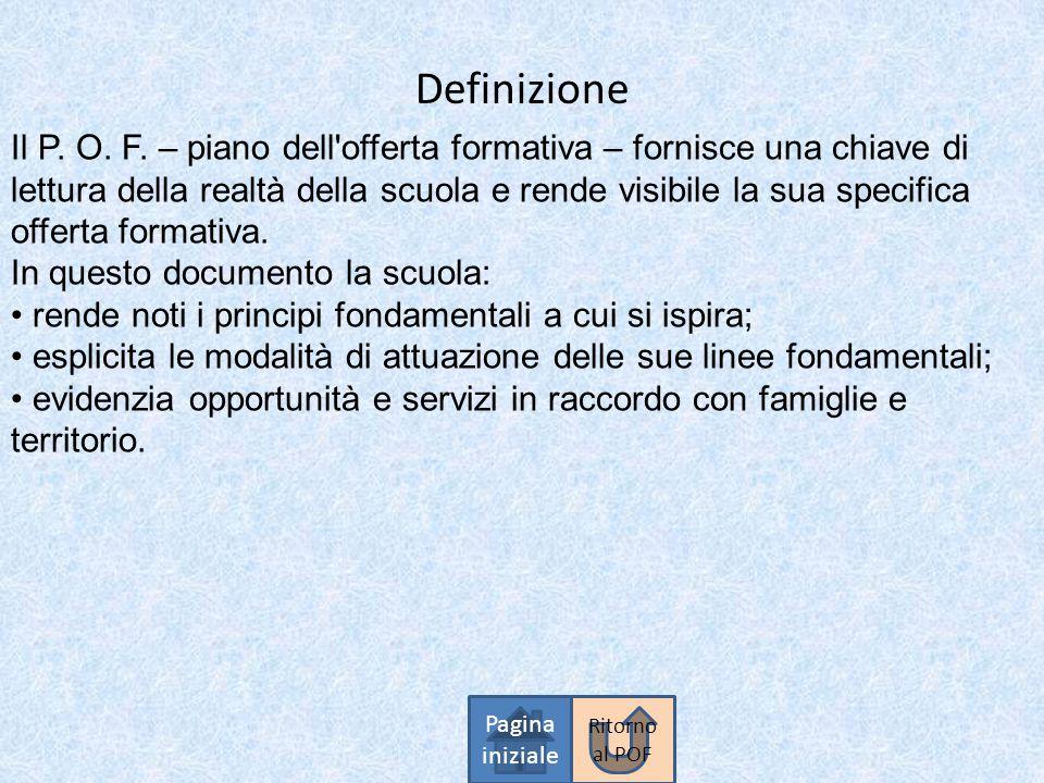 Definizione Pagina iniziale Il P. O. F. – piano dell'offerta formativa – fornisce una chiave di lettura della realtà della scuola e rende visibile la