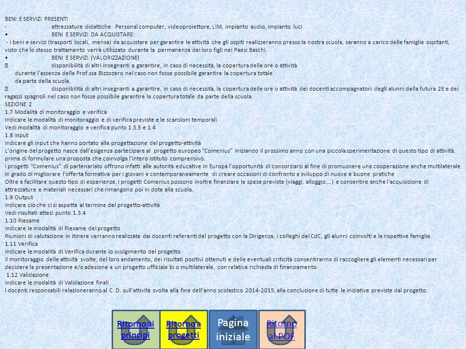 Pagina iniziale BENI E SERVIZI PRESENTI -attrezzature didattiche: Personal computer, videoproiettore, LIM, impianto audio, impianto luciBENI E SERVIZI