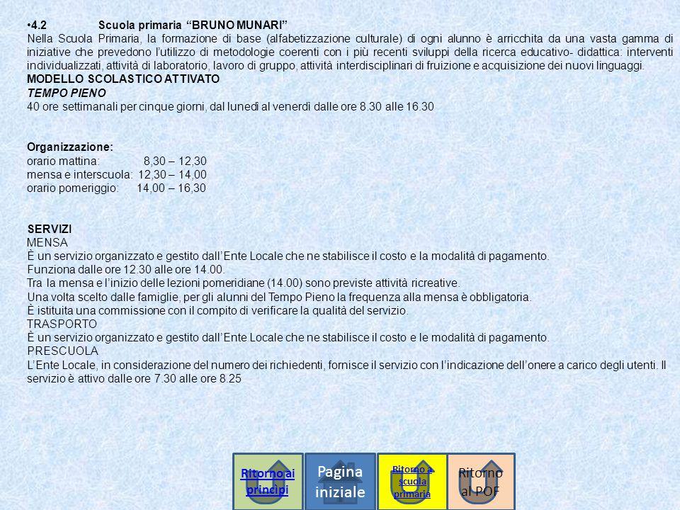 """Pagina iniziale 4.2 Scuola primaria """"BRUNO MUNARI"""" Nella Scuola Primaria, la formazione di base (alfabetizzazione culturale) di ogni alunno è arricchi"""