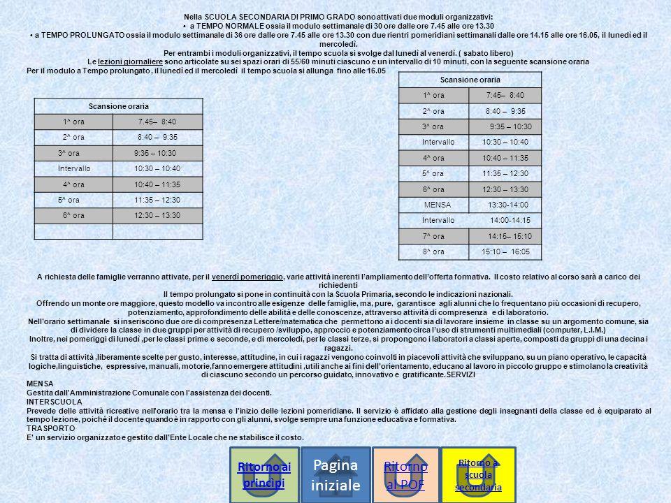 Pagina iniziale Nella SCUOLA SECONDARIA DI PRIMO GRADO sono attivati due moduli organizzativi: a TEMPO NORMALE ossia il modulo settimanale di 30 ore dalle ore 7.45 alle ore 13.30 a TEMPO PROLUNGATO ossia il modulo settimanale di 36 ore dalle ore 7.45 alle ore 13.30 con due rientri pomeridiani settimanali dalle ore 14.15 alle ore 16.05, il lunedì ed il mercoledì.