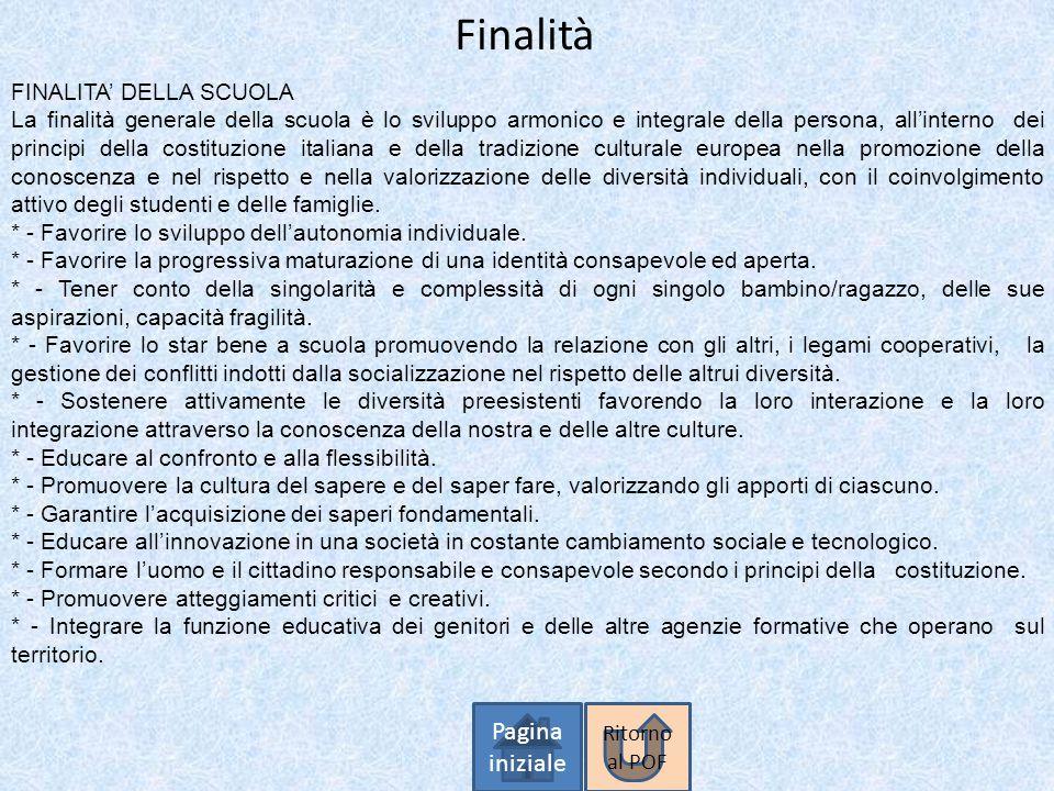 Finalità Pagina iniziale FINALITA' DELLA SCUOLA La finalità generale della scuola è lo sviluppo armonico e integrale della persona, all'interno dei pr