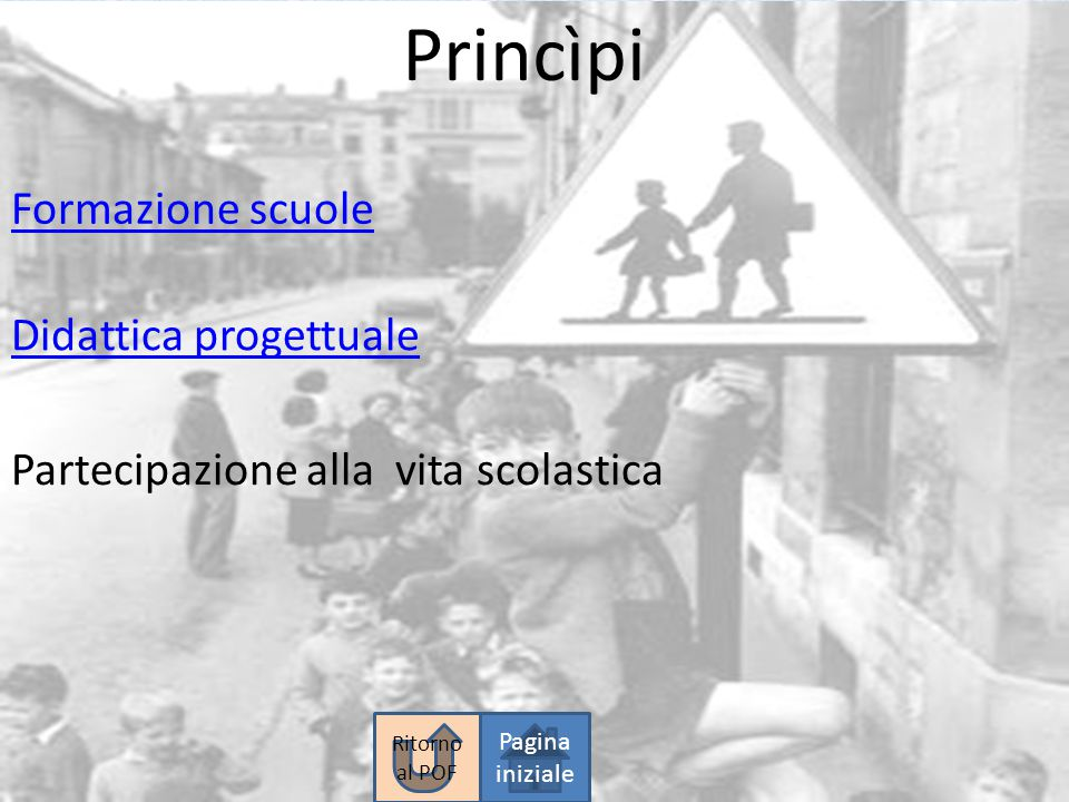 Princìpi Formazione scuole Partecipazione alla vita scolastica Didattica progettuale Pagina iniziale Ritorno al POF