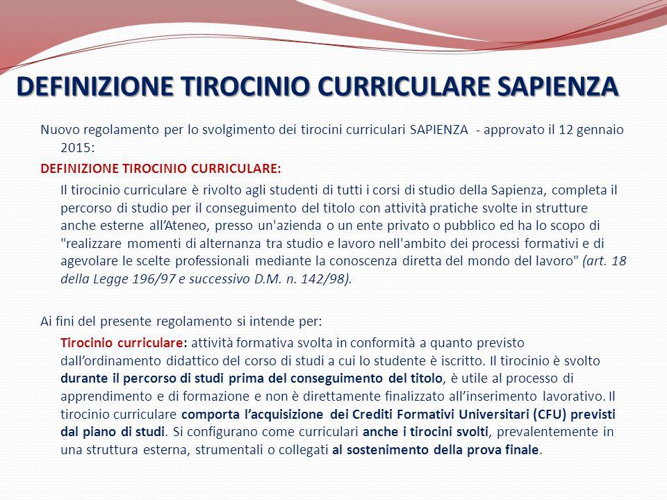 DEFINIZIONE TIROCINIO CURRICULARE SAPIENZA Nuovo regolamento per lo svolgimento dei tirocini curriculari SAPIENZA - approvato il 12 gennaio 2015: DEFI