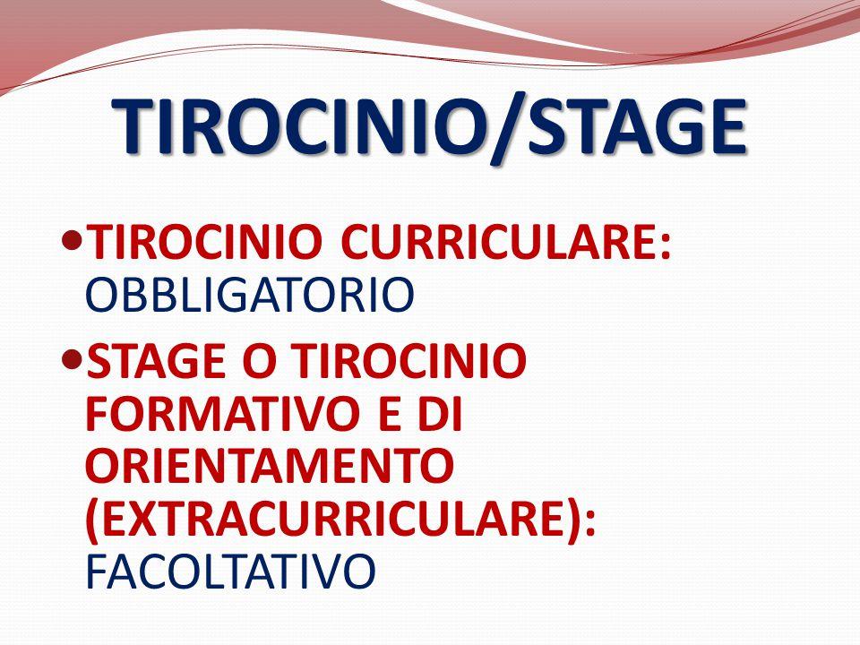 TIROCINIO CURRICULARE: OBBLIGATORIO STAGE O TIROCINIO FORMATIVO E DI ORIENTAMENTO (EXTRACURRICULARE): FACOLTATIVO TIROCINIO/STAGE