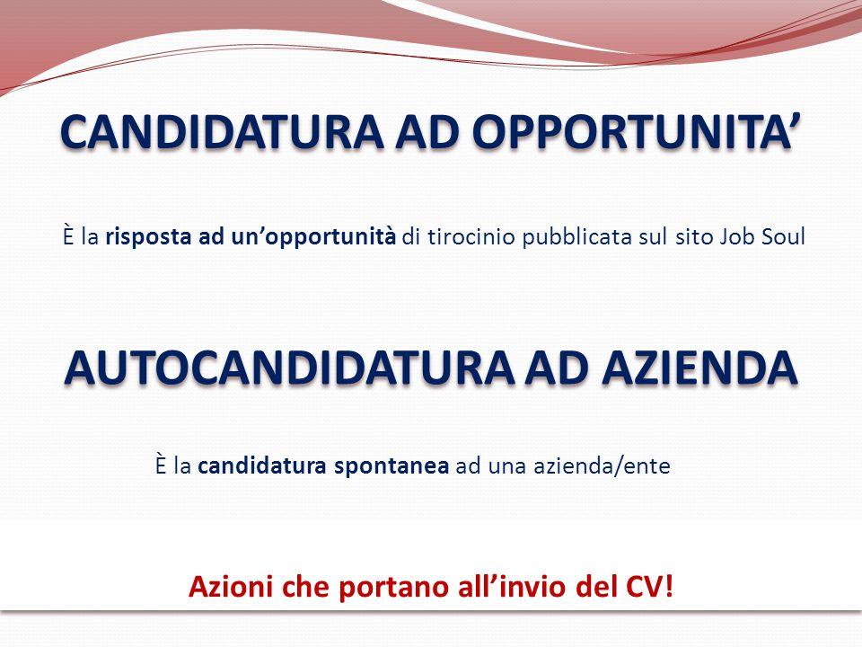 CANDIDATURA AD OPPORTUNITA' AUTOCANDIDATURA AD AZIENDA È la risposta ad un'opportunità di tirocinio pubblicata sul sito Job Soul È la candidatura spon