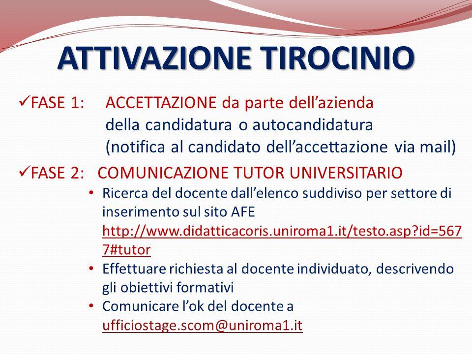 FASE 1: ACCETTAZIONE da parte dell'azienda della candidatura o autocandidatura (notifica al candidato dell'accettazione via mail) FASE 2: COMUNICAZION