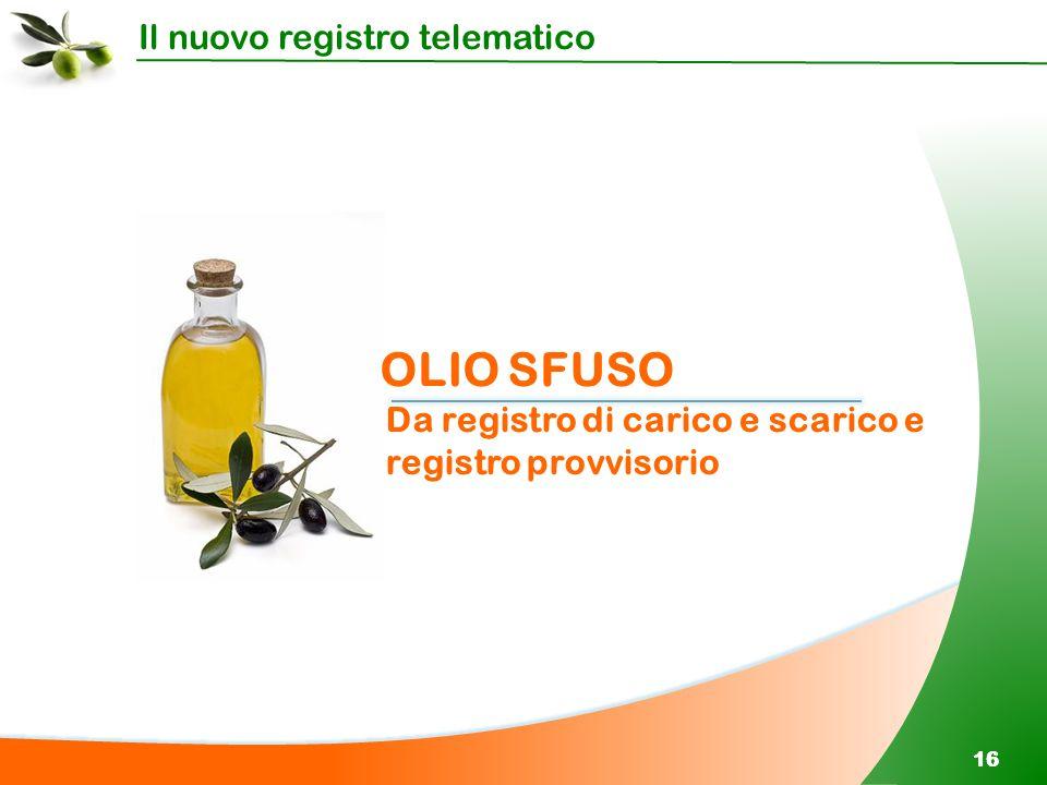 Il nuovo registro telematico 16 OLIO SFUSO Da registro di carico e scarico e registro provvisorio