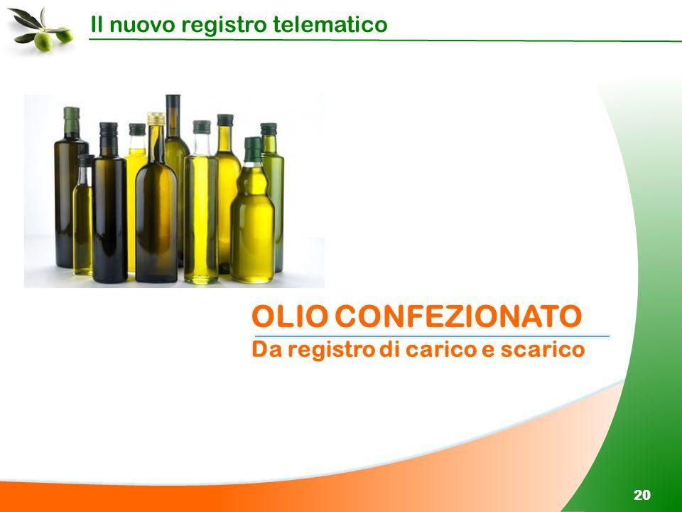 Il nuovo registro telematico 20 OLIO CONFEZIONATO Da registro di carico e scarico
