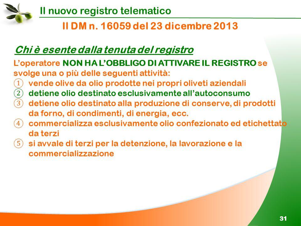 Il nuovo registro telematico 31 Il DM n. 16059 del 23 dicembre 2013 Chi è esente dalla tenuta del registro L'operatore NON HA L'OBBLIGO DI ATTIVARE IL