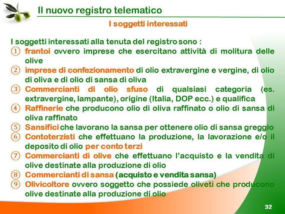 Il nuovo registro telematico 32 I soggetti interessati I soggetti interessati alla tenuta del registro sono : ① frantoi ovvero imprese che esercitano