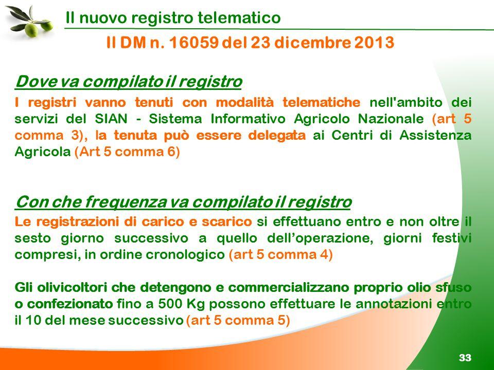 Il nuovo registro telematico 33 Il DM n. 16059 del 23 dicembre 2013 Dove va compilato il registro I registri vanno tenuti con modalità telematiche nel
