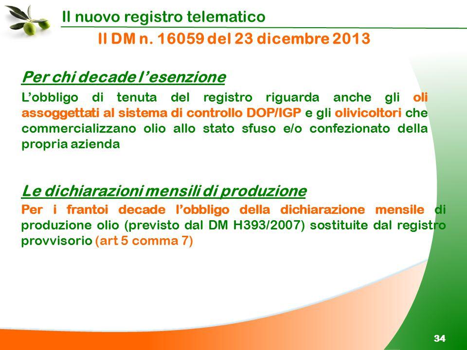 Il nuovo registro telematico 34 Il DM n. 16059 del 23 dicembre 2013 Per i frantoi decade l'obbligo della dichiarazione mensile di produzione olio (pre