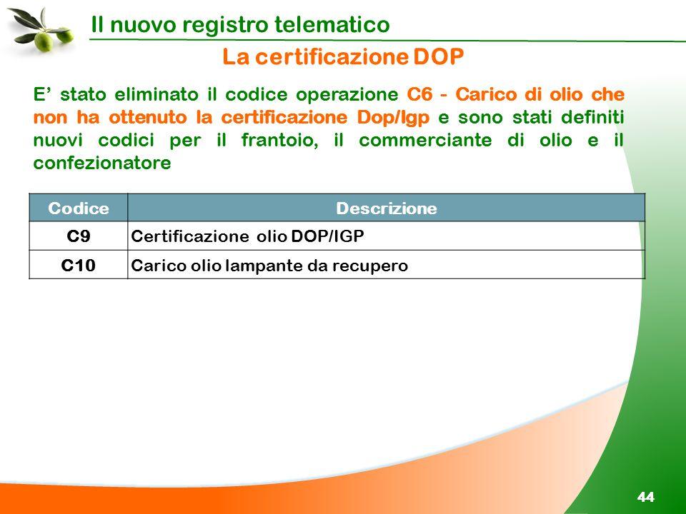 Il nuovo registro telematico 44 E' stato eliminato il codice operazione C6 - Carico di olio che non ha ottenuto la certificazione Dop/Igp e sono stati
