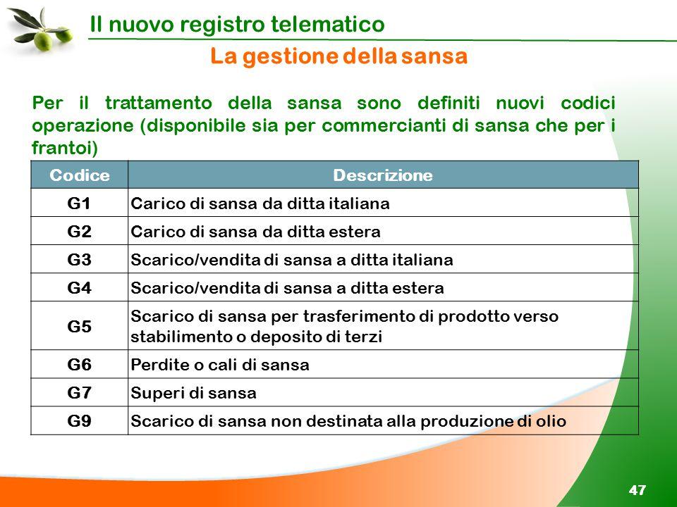 Il nuovo registro telematico 47 CodiceDescrizione G1Carico di sansa da ditta italiana G2Carico di sansa da ditta estera G3Scarico/vendita di sansa a d