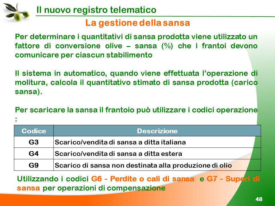 Il nuovo registro telematico 48 Per determinare i quantitativi di sansa prodotta viene utilizzato un fattore di conversione olive – sansa (%) che i fr