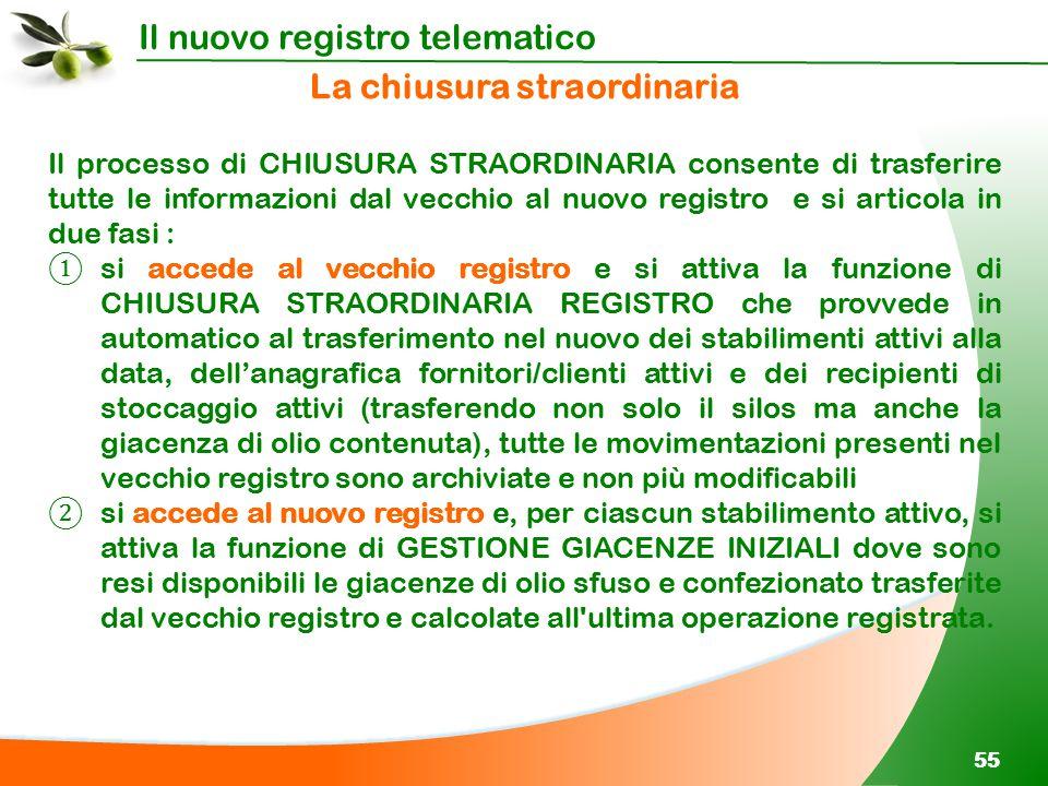 Il nuovo registro telematico 55 Il processo di CHIUSURA STRAORDINARIA consente di trasferire tutte le informazioni dal vecchio al nuovo registro e si