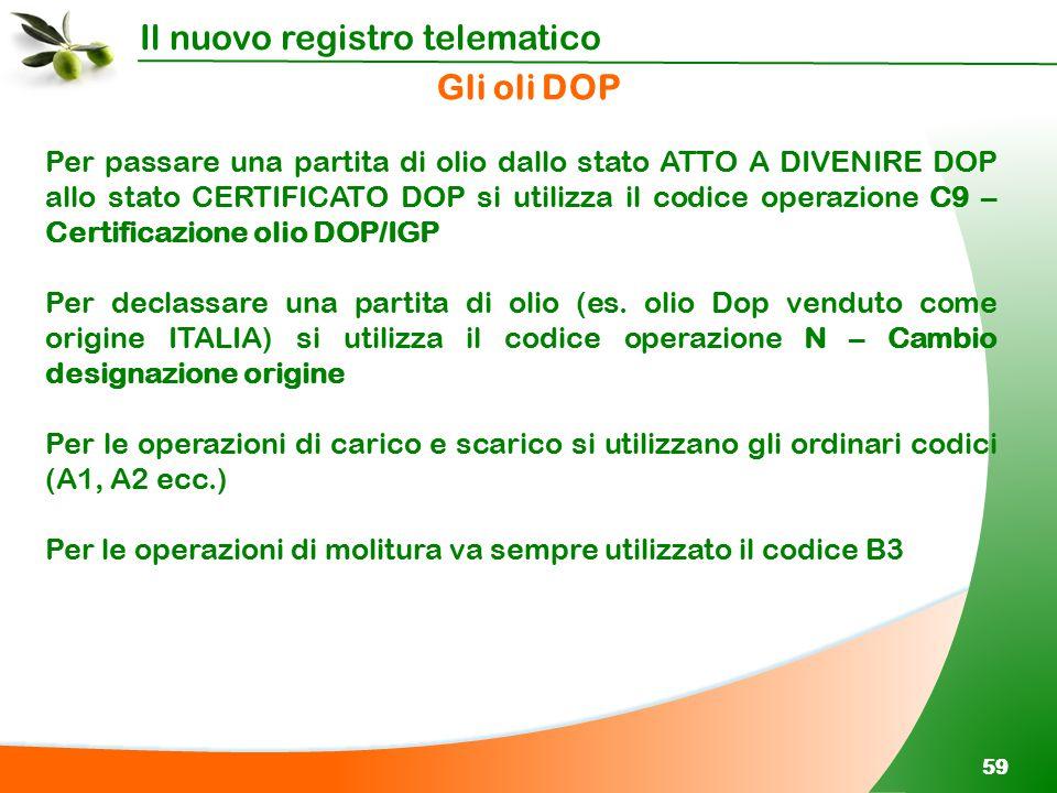 Il nuovo registro telematico 59 Per passare una partita di olio dallo stato ATTO A DIVENIRE DOP allo stato CERTIFICATO DOP si utilizza il codice opera