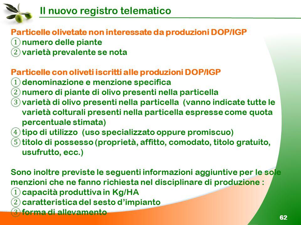 Il nuovo registro telematico 62 Particelle olivetate non interessate da produzioni DOP/IGP ① numero delle piante ② varietà prevalente se nota Particel
