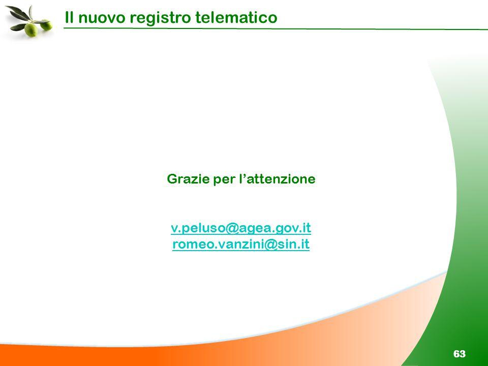 Il nuovo registro telematico 63 Grazie per l'attenzione v.peluso@agea.gov.it romeo.vanzini@sin.it