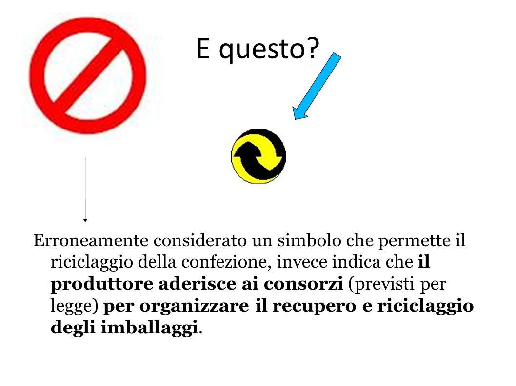 E questo? Erroneamente considerato un simbolo che permette il riciclaggio della confezione, invece indica che il produttore aderisce ai consorzi (prev