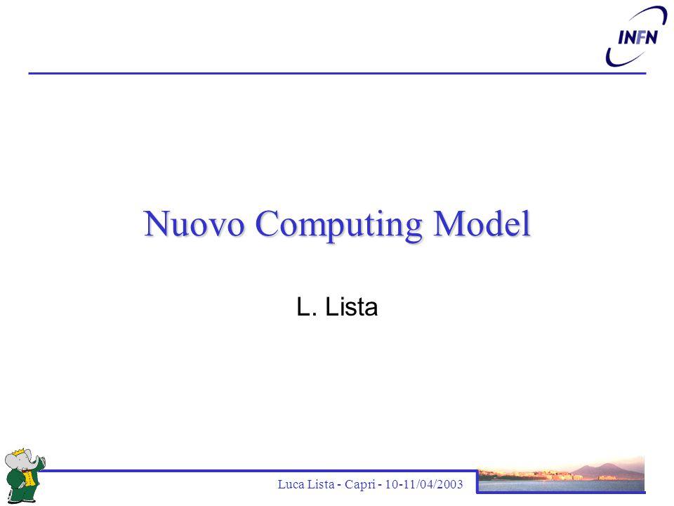 Luca Lista - Capri - 10-11/04/2003 Sommario Metodi di analisi attuali Motivazioni del nuovo modello di calcolo Strumenti per il Bookkeeping Nuovo modello di analisi Stato del progetto