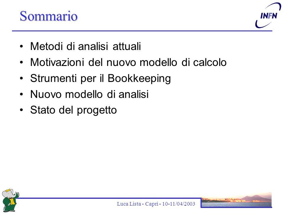 Luca Lista - Capri - 10-11/04/2003 Il processo di analisi oggi 1.Identificazione dei campioni di dati da analizzare Dati (skim, …), Monte Carlo 2.Sottomissione job di produzione per l'analisi Analisi combinatoria (D, D*, B-reco, …) Calcolo delle quantità fisiche (Fisher, thrust, missing momentum,  E, m ES ) Scrittura ntuple in formato specifico per il Working Group 3.Riduzione delle ntuple per le analisi specifiche (anche in più passi) 4.Produzione dei risultati con analisi interattiva (PAW, ROOT, fit, …) 5.Preparazione dei documenti di analisi (BAD)