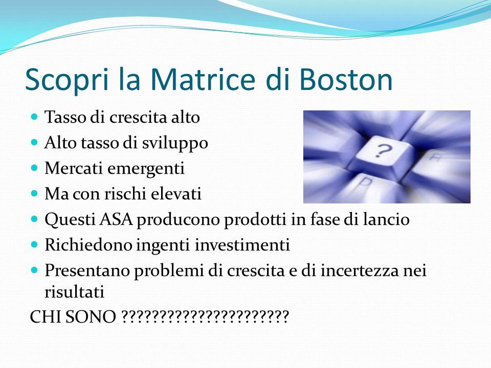 Scopri la Matrice di Boston Tasso di crescita alto Alto tasso di sviluppo Mercati emergenti Ma con rischi elevati Questi ASA producono prodotti in fas