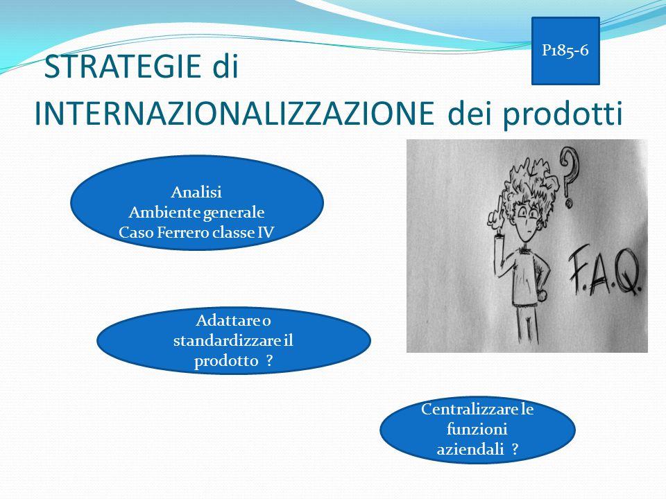 STRATEGIE di INTERNAZIONALIZZAZIONE dei prodotti Analisi Ambiente generale Caso Ferrero classe IV Adattare o standardizzare il prodotto ? Centralizzar
