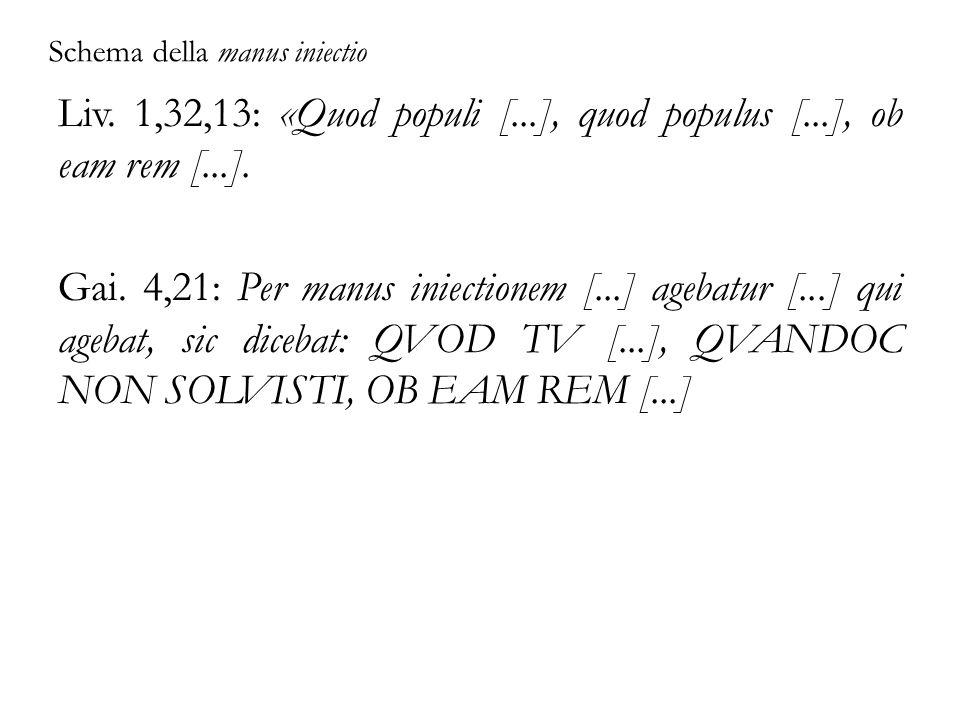 Schema della manus iniectio Liv. 1,32,13: «Quod populi [...], quod populus [...], ob eam rem [...]. Gai. 4,21: Per manus iniectionem [...] agebatur [.