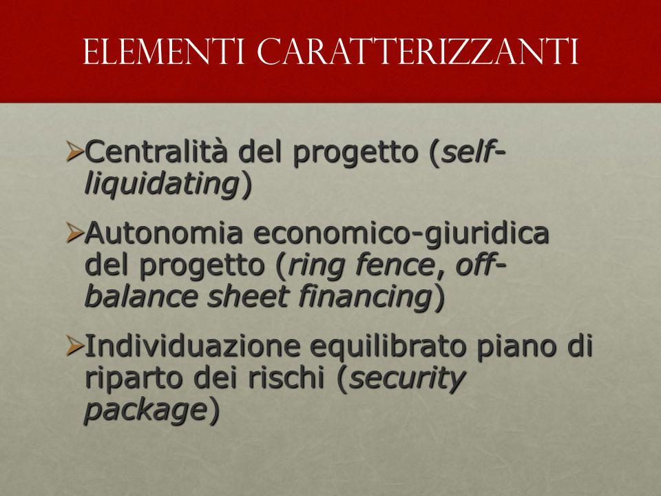  Centralità del progetto (self- liquidating)  Autonomia economico-giuridica del progetto (ring fence, off- balance sheet financing)  Individuazione