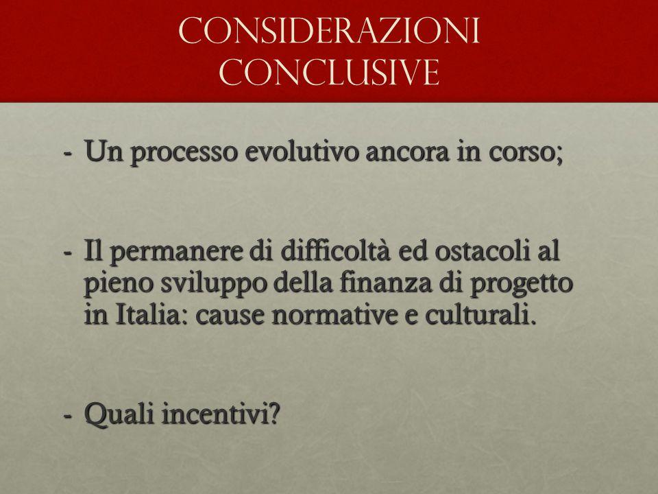 -Un processo evolutivo ancora in corso; -Il permanere di difficoltà ed ostacoli al pieno sviluppo della finanza di progetto in Italia: cause normative