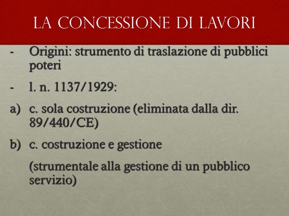-Origini: strumento di traslazione di pubblici poteri -l. n. 1137/1929: a)c. sola costruzione (eliminata dalla dir. 89/440/CE) b)c. costruzione e gest