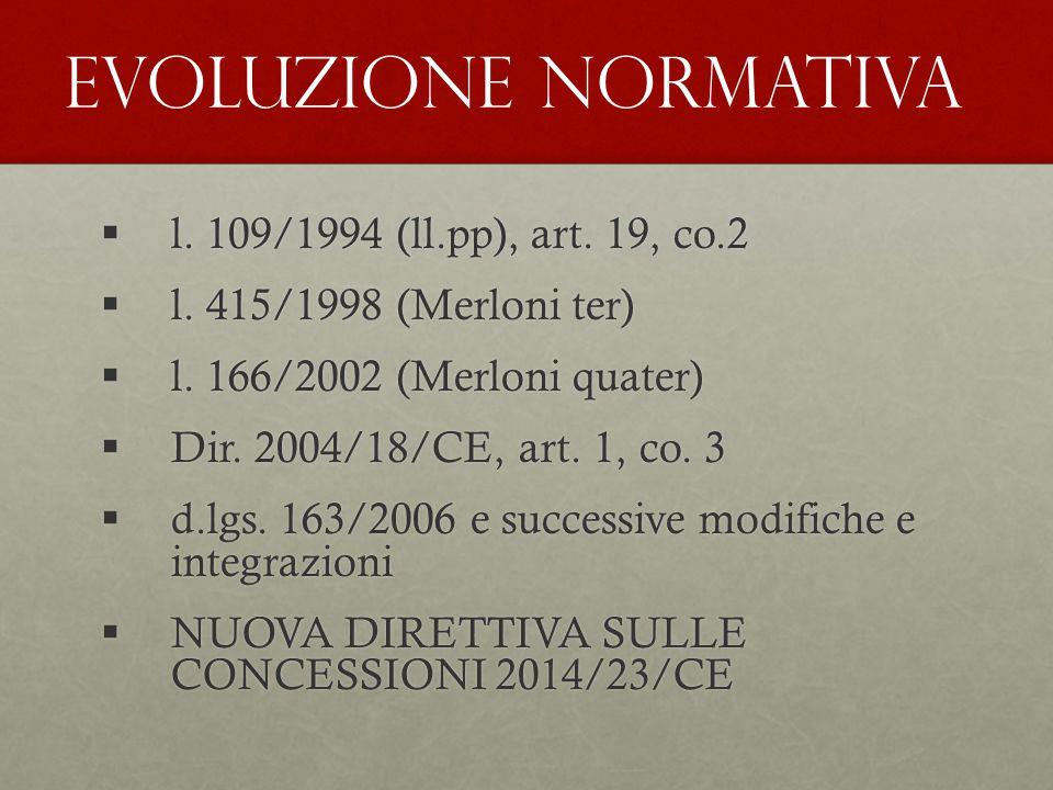  l. 109/1994 (ll.pp), art. 19, co.2  l. 415/1998 (Merloni ter)  l. 166/2002 (Merloni quater)  Dir. 2004/18/CE, art. 1, co. 3  d.lgs. 163/2006 e s